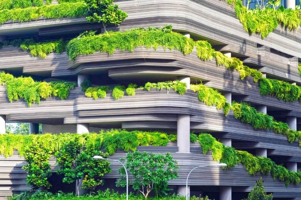 balkony z zielenią